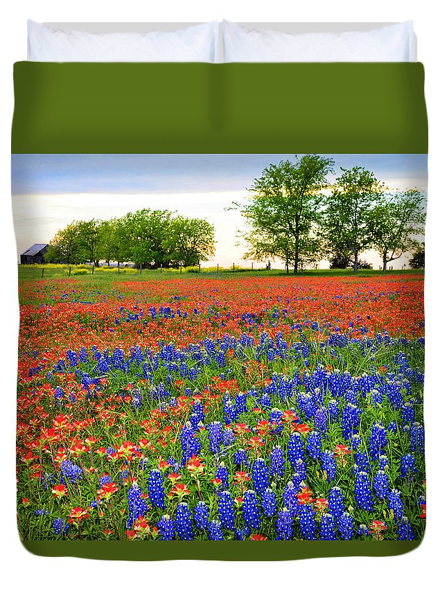 Bluebonnets In The Texas Hill Country Duvet Cover featuring the photograph Wildflower Tapestry by Lynn Bauer