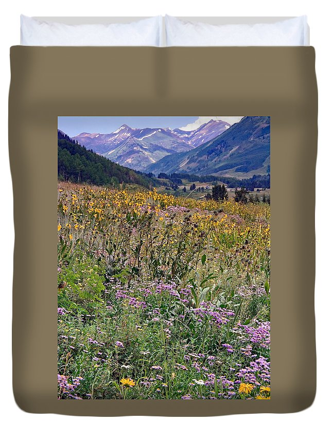 Field Of Wildflowers Duvet Cover featuring the photograph Wildflowers And Mountains by Sally Weigand