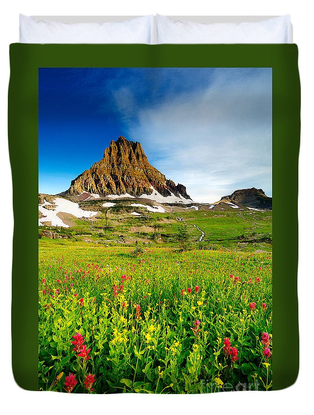 Glacier National Park Duvet Cover featuring the photograph Wildflowers At Logan Pass by Joe Mamer