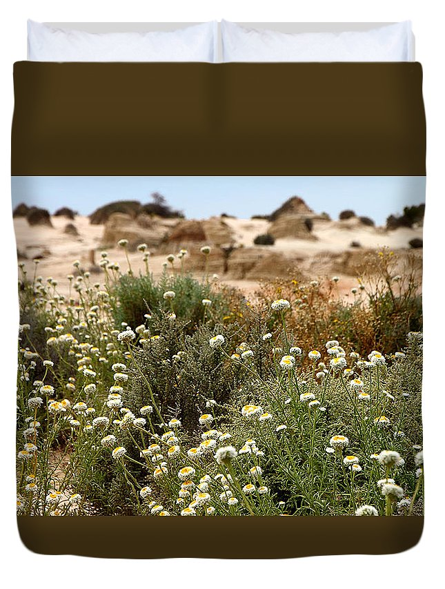 Flowers Duvet Cover featuring the photograph Wildflowers At Mungo National Park by Carole-Anne Fooks