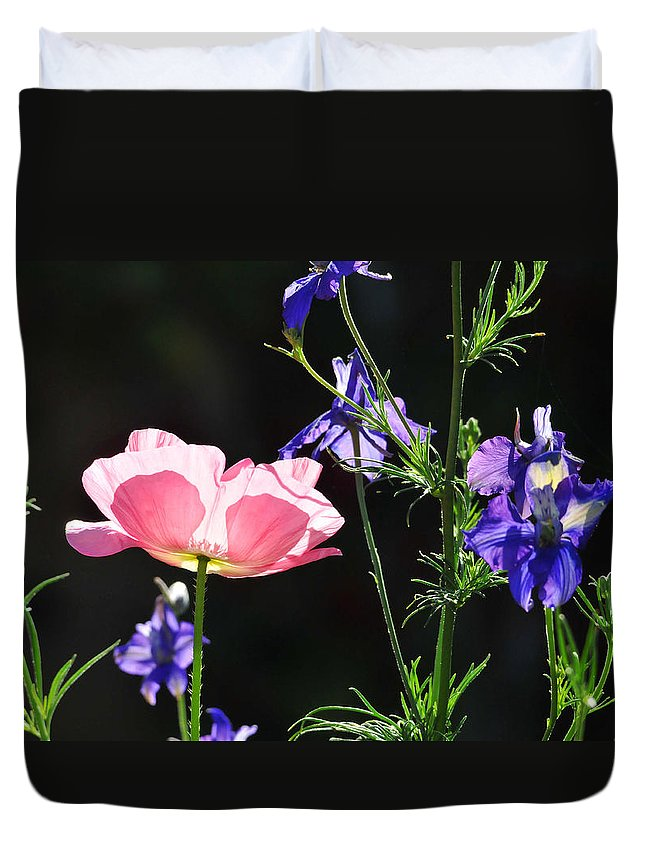 Flower Duvet Cover featuring the photograph Wildflowers On Black by Lynn Bauer