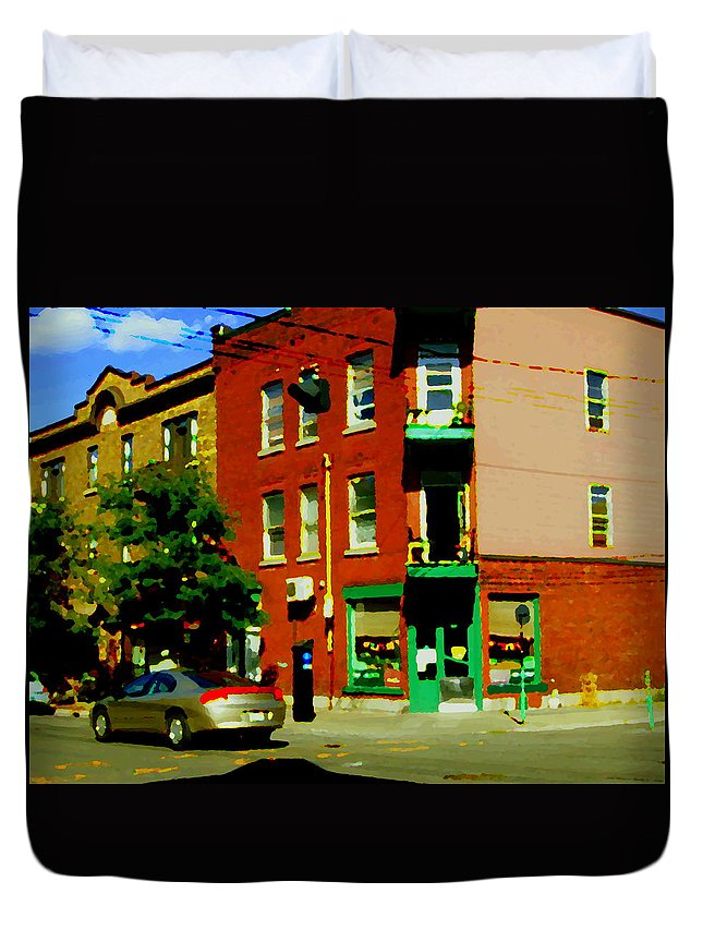 Montreal Duvet Cover featuring the painting Wilenskys Famous Light Lunch Diner Corner Clark And Fairmount Montreal City Scene Carole Spandau by Carole Spandau