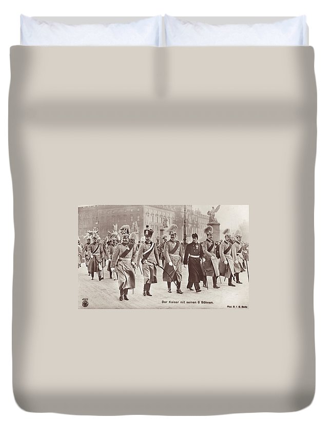 1913 Duvet Cover featuring the photograph Wilhelm II & Sons by Granger