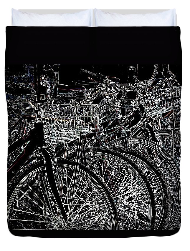 New York Duvet Cover featuring the photograph Williamsburg Bikes by Jeff Watts