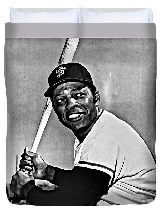 Mlb Duvet Cover featuring the painting Willie Mays Painting by Florian Rodarte