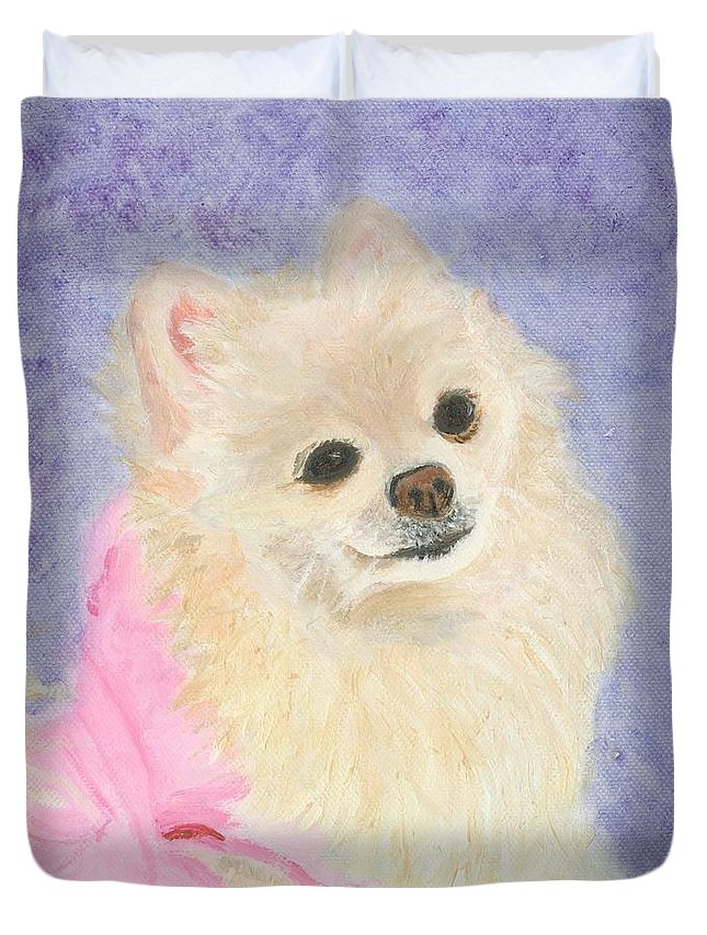 Dog Duvet Cover featuring the painting Willow by Paula Emery