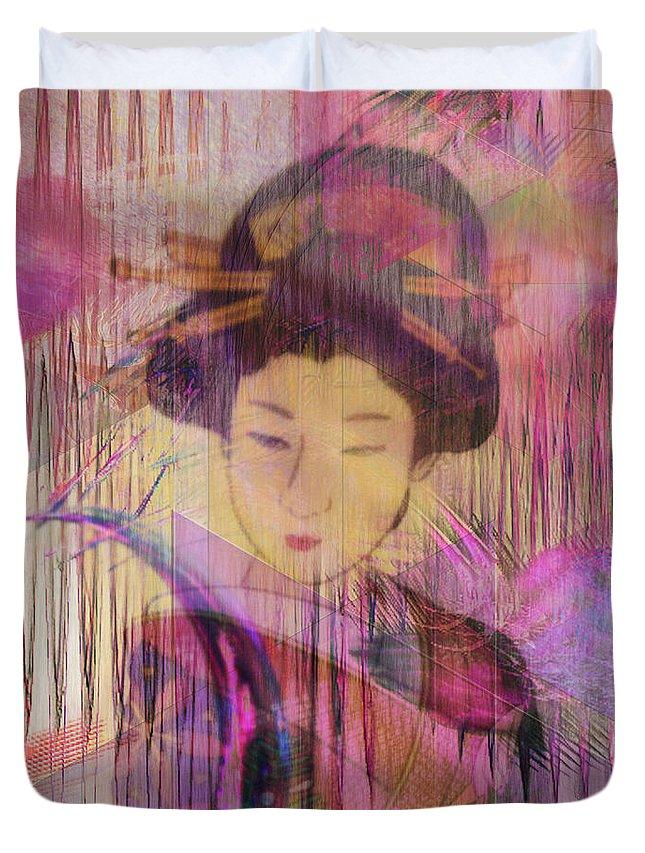 Geisha Duvet Cover featuring the digital art Willow World - Square Version by John Robert Beck