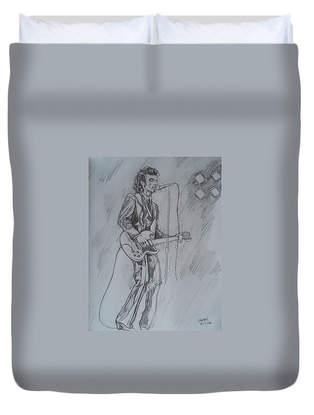 Pencil Duvet Cover featuring the drawing Willy Deville - Steady Drivin' Man by Sean Connolly