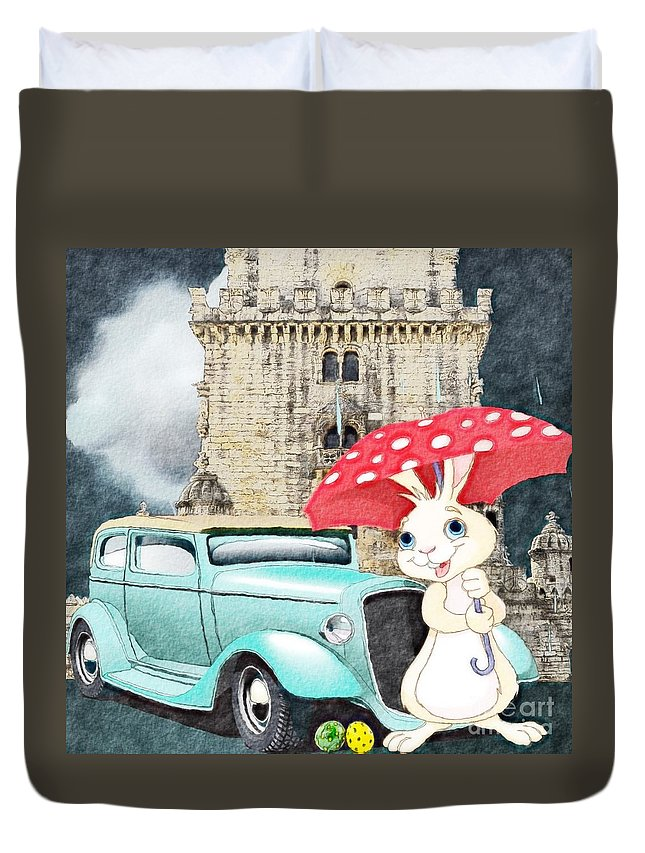 Easter Duvet Cover featuring the digital art Willy The Wabbit Urrr I Mean Rabbit by Liane Wright