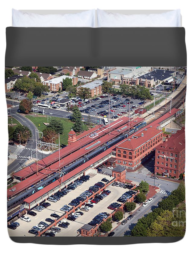 Aerial Duvet Cover featuring the photograph Wilmington Amtrak by Bill Cobb