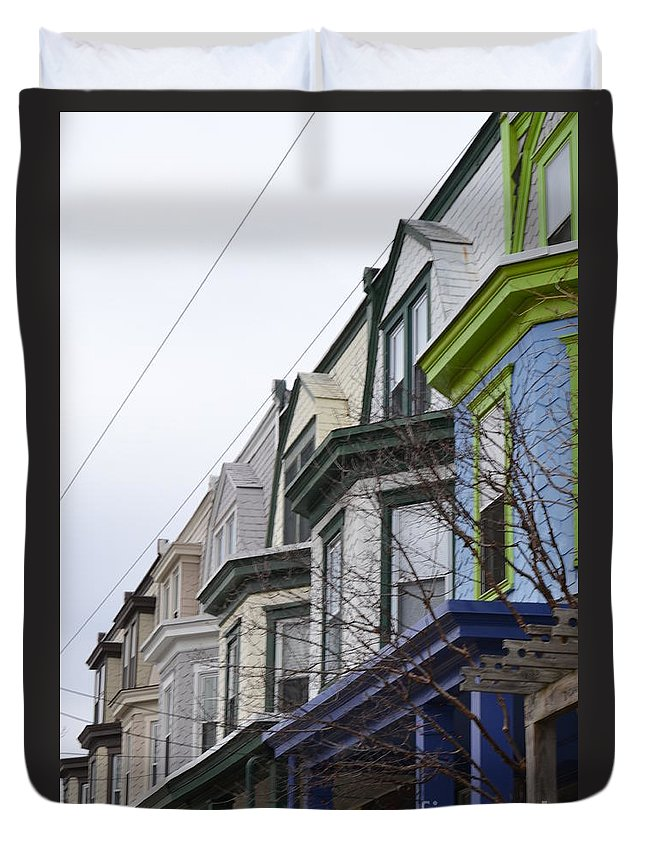 Wilmington Duvet Cover featuring the photograph Wilmington Houses by Heather Jane