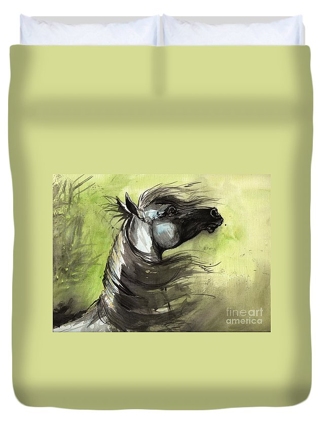 Arabian Horse Duvet Cover featuring the painting Wind In The Mane 3 by Angel Ciesniarska
