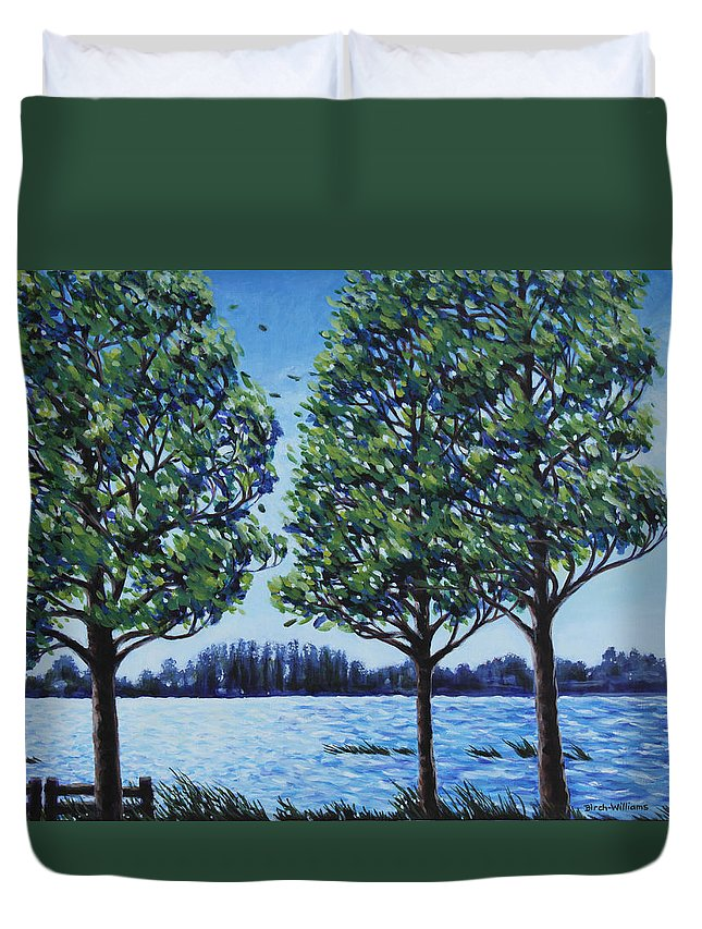 Lake Duvet Cover featuring the painting Wind In The Trees by Penny Birch-Williams