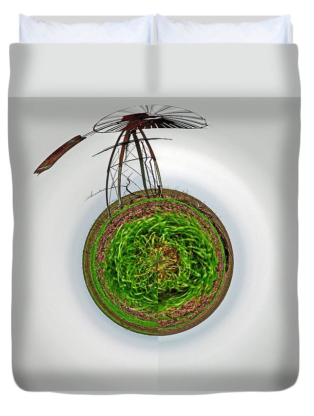 Landscape Duvet Cover featuring the photograph Wind Mill Goes 'round by Deb Buchanan