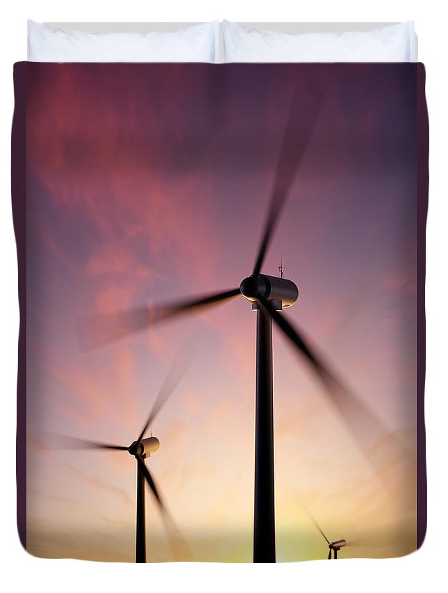 Wind Duvet Cover featuring the photograph Wind Turbine Blades Spinning At Sunset by Johan Swanepoel
