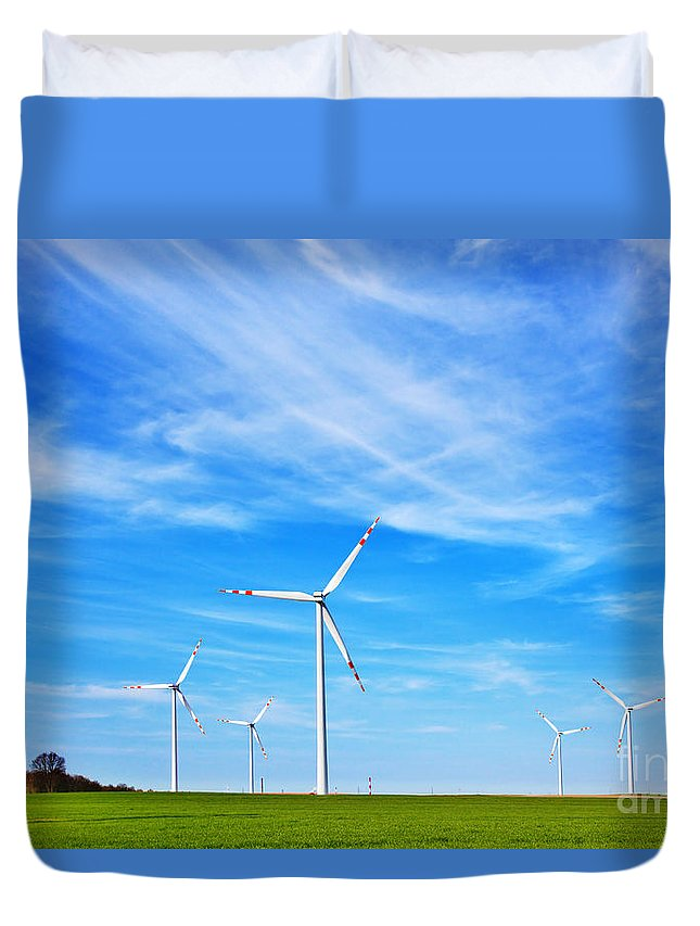 Power Duvet Cover featuring the photograph Wind Turbines Farm by Michal Bednarek
