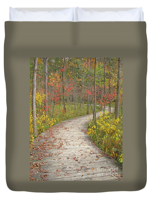 Autumn Duvet Cover featuring the photograph Winding Woods Walk by Ann Horn