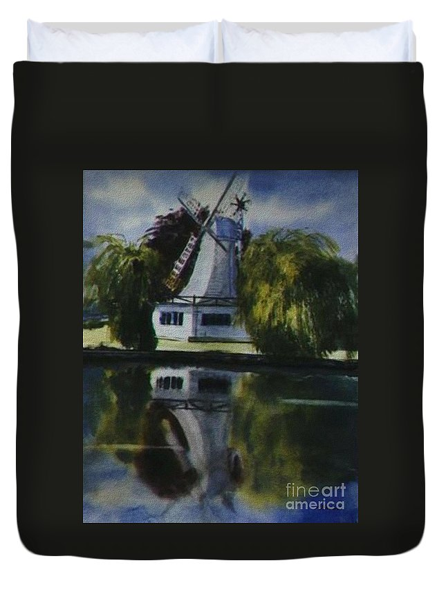 Windmill In The Willows Duvet Cover featuring the painting Windmill In The Willows by Martin Howard
