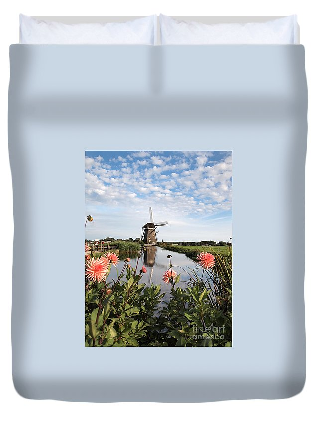 Holland Duvet Cover featuring the photograph Windmill Landscape In Holland by IPics Photography