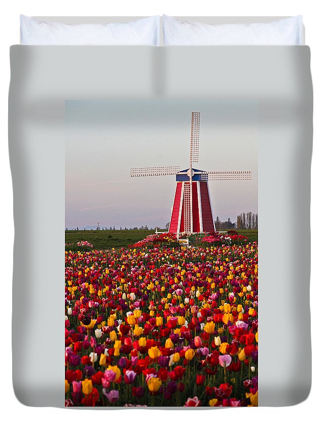 Windmill Duvet Cover featuring the photograph Windmill Of Flowers by Athena Mckinzie