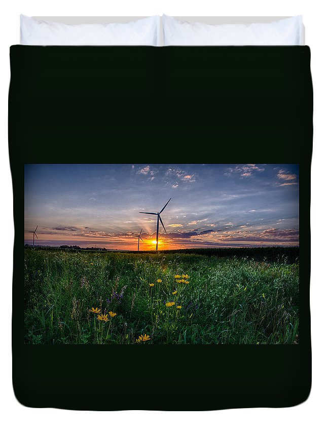 Sunset Duvet Cover featuring the photograph Windmill Sunset by Christopher Nelson