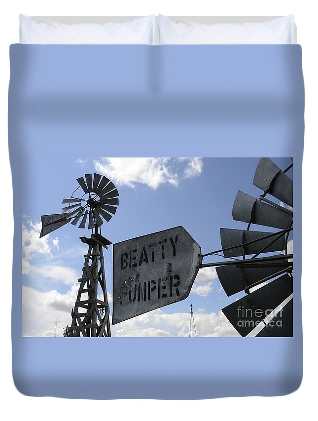 Windmill Duvet Cover featuring the photograph Windmills 1 by Bob Christopher