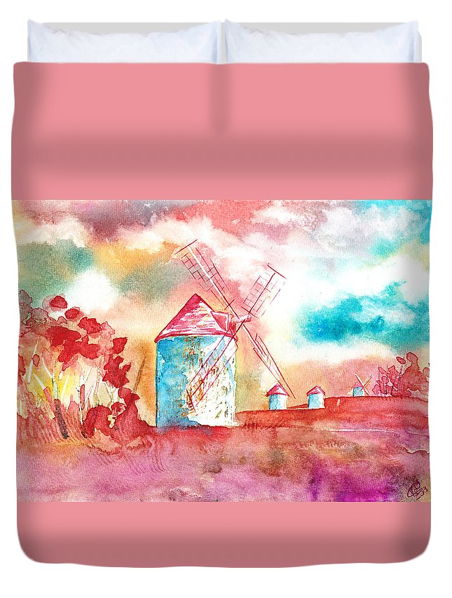 Traditional Duvet Cover featuring the painting Windmills by Kate Black