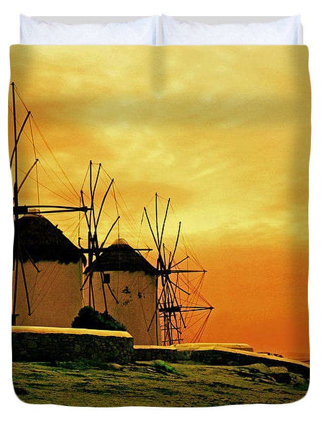 Greece Duvet Cover featuring the photograph Windmills Of Mykonos by Madeline Ellis
