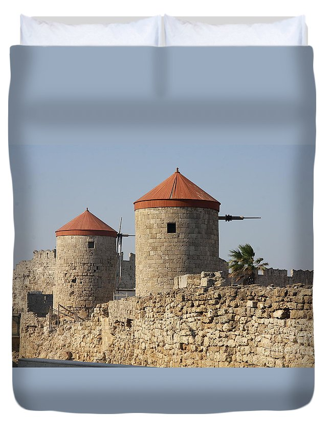 Windmill Duvet Cover featuring the photograph Windmills Of Rhodos - Port Of The Myloi by Christiane Schulze Art And Photography