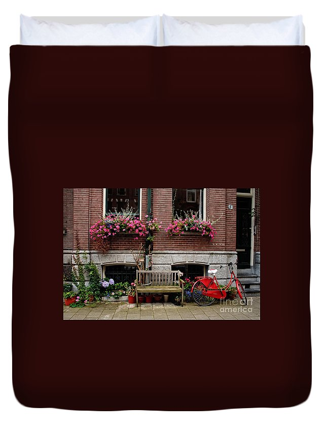Amsterdam Duvet Cover featuring the photograph Window Box Bicycle And Bench -- Amsterdam by Thomas Marchessault