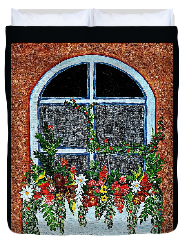 Window Flower Box On A Stucco Wall Duvet Cover featuring the painting Window Flower Box On A Stucco Wall by Barbara Griffin