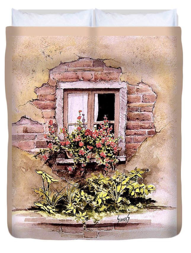Window Duvet Cover featuring the painting Window Flowers by Sam Sidders