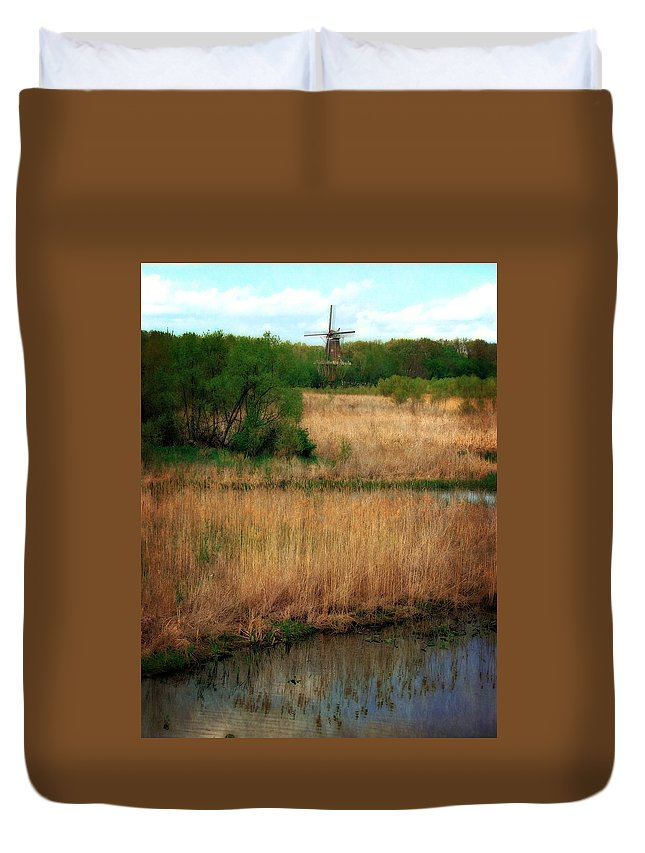 Windmill Island Duvet Cover featuring the photograph Window On The Waterfront Dezwaan Windmill by Michelle Calkins