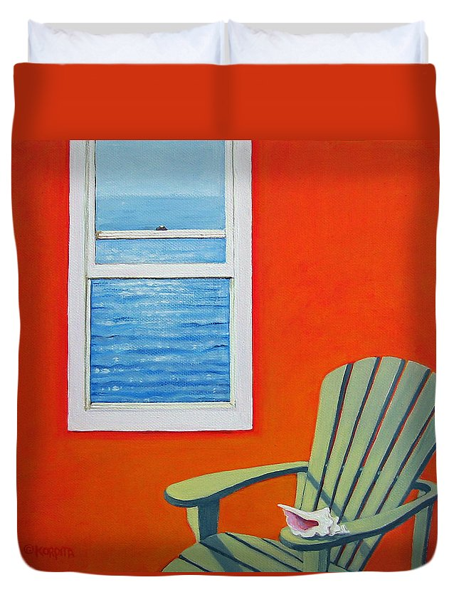 Seashell Duvet Cover featuring the painting Window To The Sea No. 1 - Seashell by Rebecca Korpita