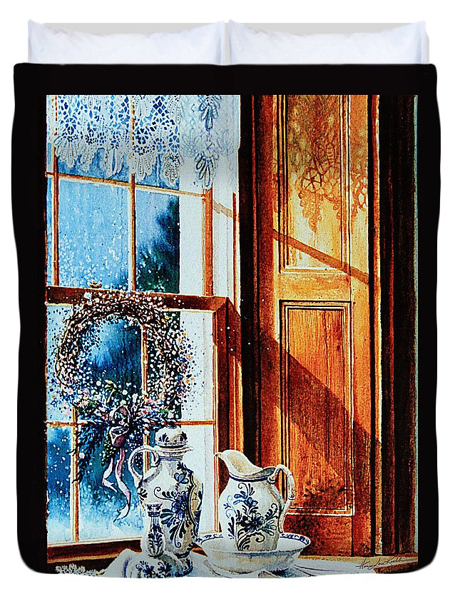 Still Life Duvet Cover featuring the painting Window Treasures by Hanne Lore Koehler