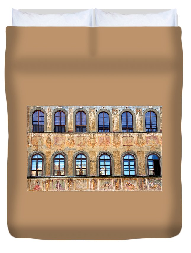 Florence Duvet Cover featuring the photograph Windows In Florence by Caroline Stella