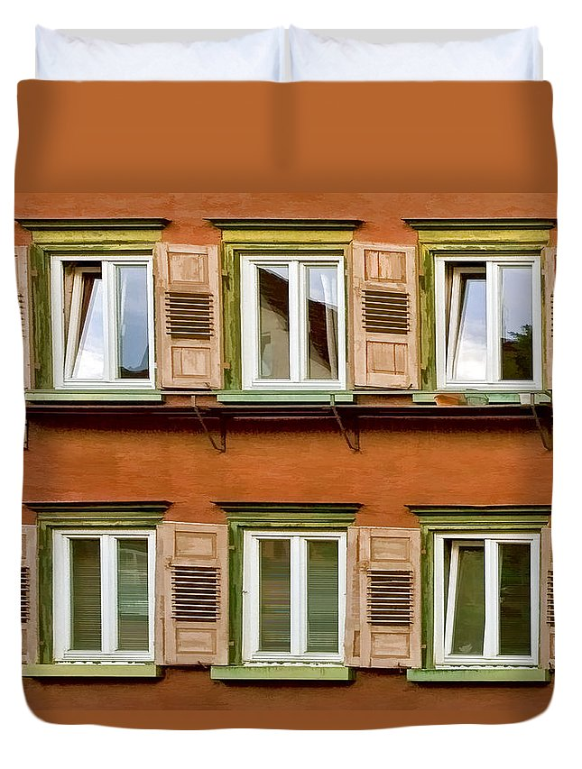 Architecture Duvet Cover featuring the photograph Windows by Marcia Colelli