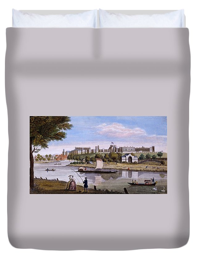Windsor Castle Duvet Cover featuring the drawing Windsor Castle From Across The Thames by English School