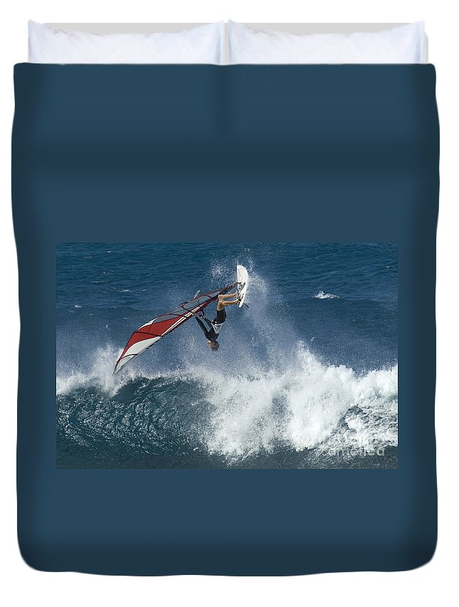 Surf Duvet Cover featuring the photograph Windsurfer Hanging In by Bob Christopher