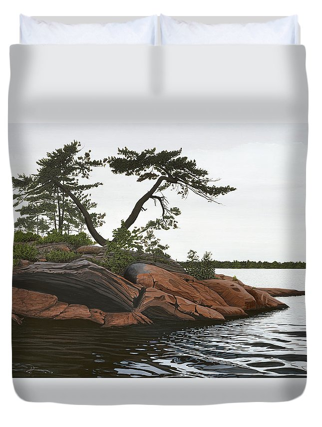 Landscape Paintings Duvet Cover featuring the painting Windswept by Kenneth M Kirsch