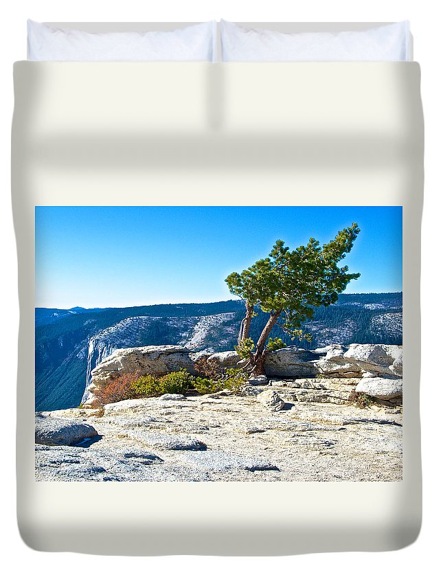 Windswept Tree On Top Of Sentinel Dome Top Of Sentinel Dome In Yosemite Np Duvet Cover featuring the photograph Windswept Tree On Top Of Sentinel Dome In Yosemite Np-ca by Ruth Hager