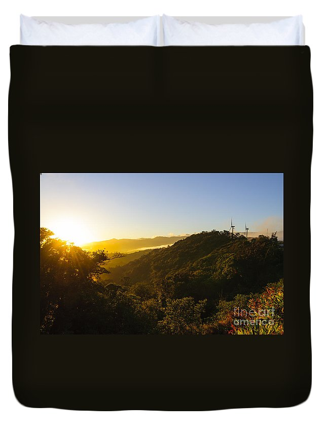 Blue Duvet Cover featuring the photograph Windturbines At Sunrise by Oscar Gutierrez