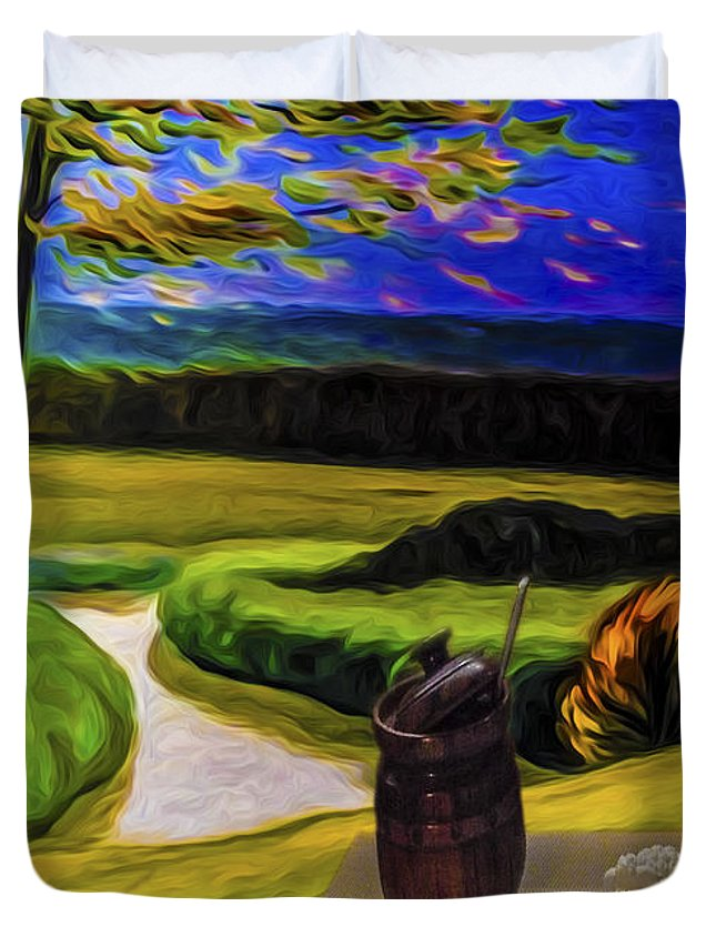 Nature Duvet Cover featuring the digital art Windy Autumn With Still Life 05 by Algirdas Lukas