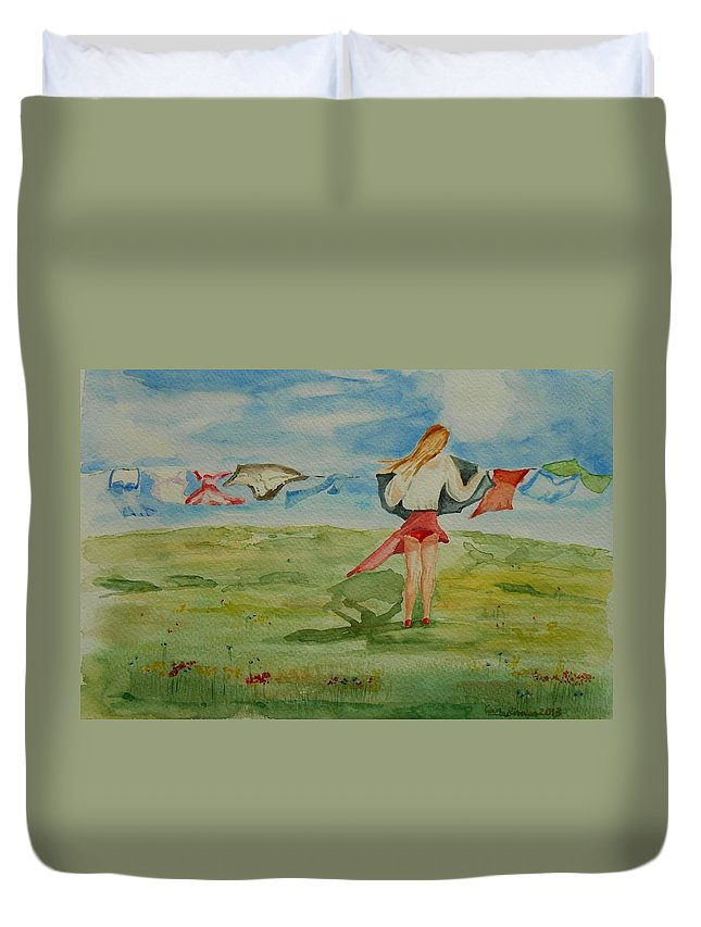 Red Duvet Cover featuring the painting Windy Day Funny Watercolor by Geeta Biswas