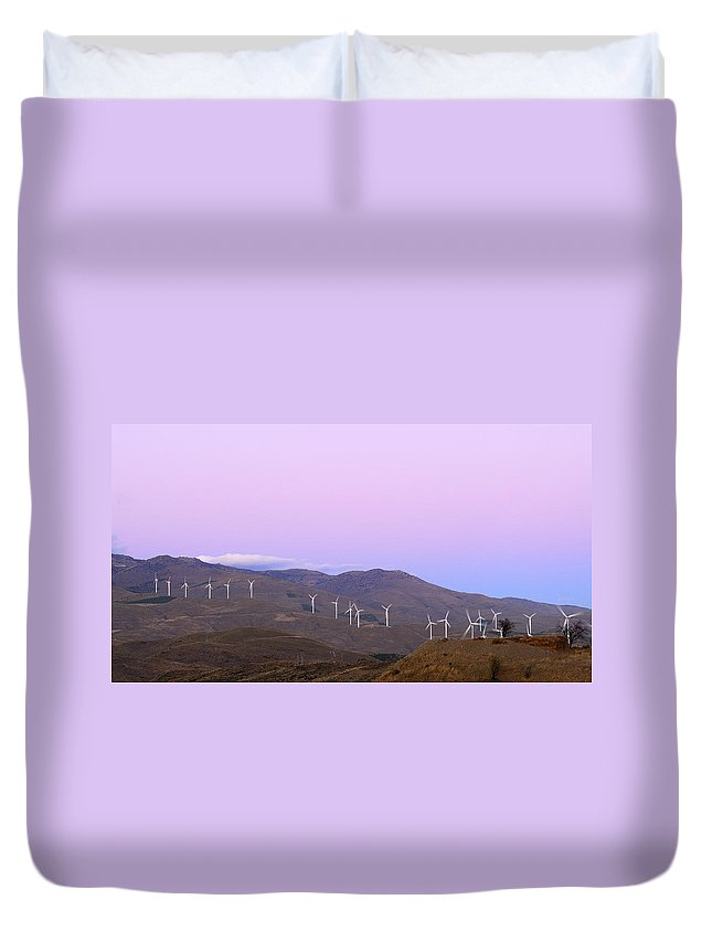 Wind Farm Duvet Cover featuring the photograph Windy Power At Sunset by Guido Montanes Castillo