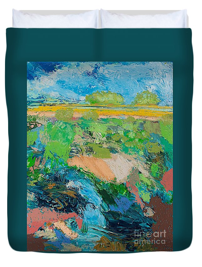 Landscape Duvet Cover featuring the painting Windy Storm by Allan P Friedlander