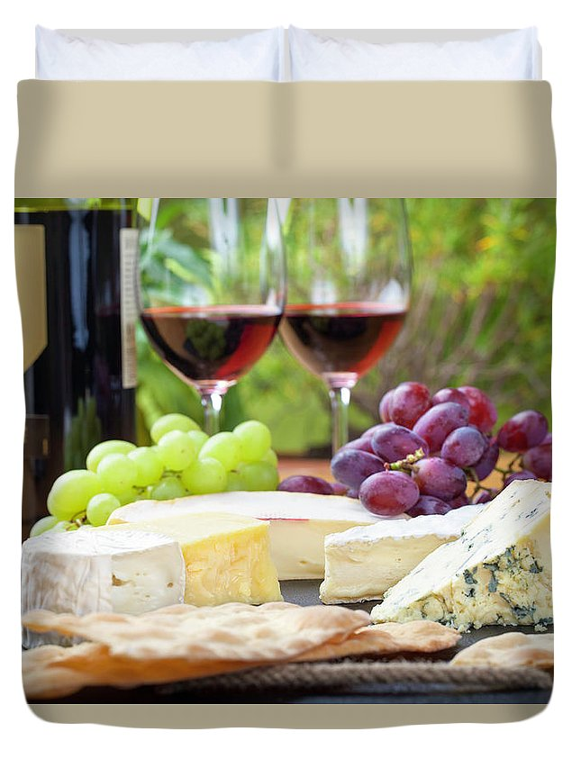 Cheese Duvet Cover featuring the photograph Wine And Cheese Platter by Nicolamargaret