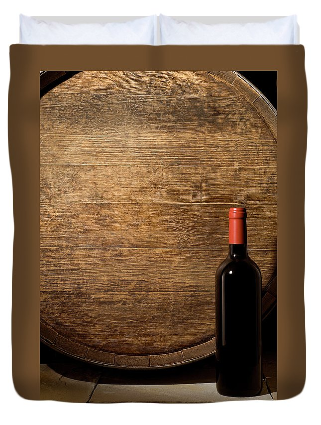 Alcohol Duvet Cover featuring the photograph Wine Barrel And Bottle by Markswallow