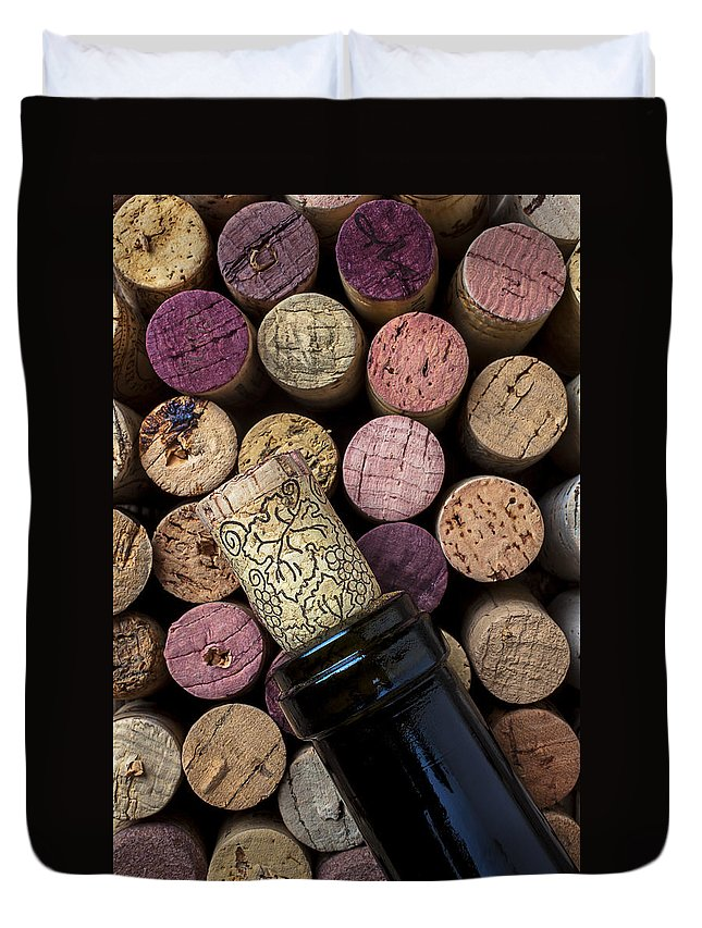 Corks Duvet Cover featuring the photograph Wine Bottle With Corks by Garry Gay