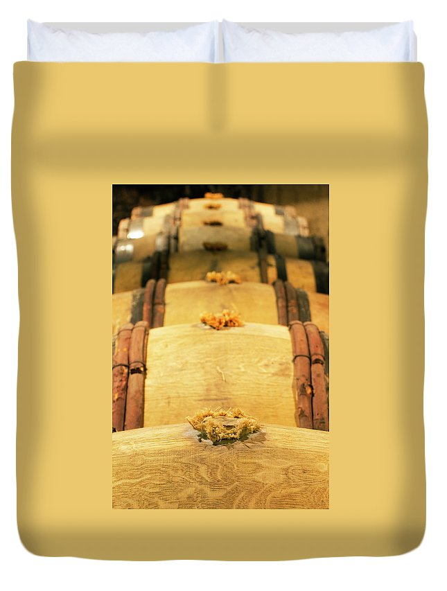 Alcohol Duvet Cover featuring the photograph Wine Cellar by Luoman